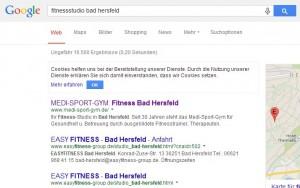 Google Platz 1 mit  Fitnessstudio Bad Hersfeld